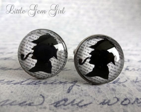 Sherlock Holmes Cufflinks – Book Quote Cuff Links – Sherlock Holmes Silhouette Baker Street Book Jewelry – Vintage Style Book Quote