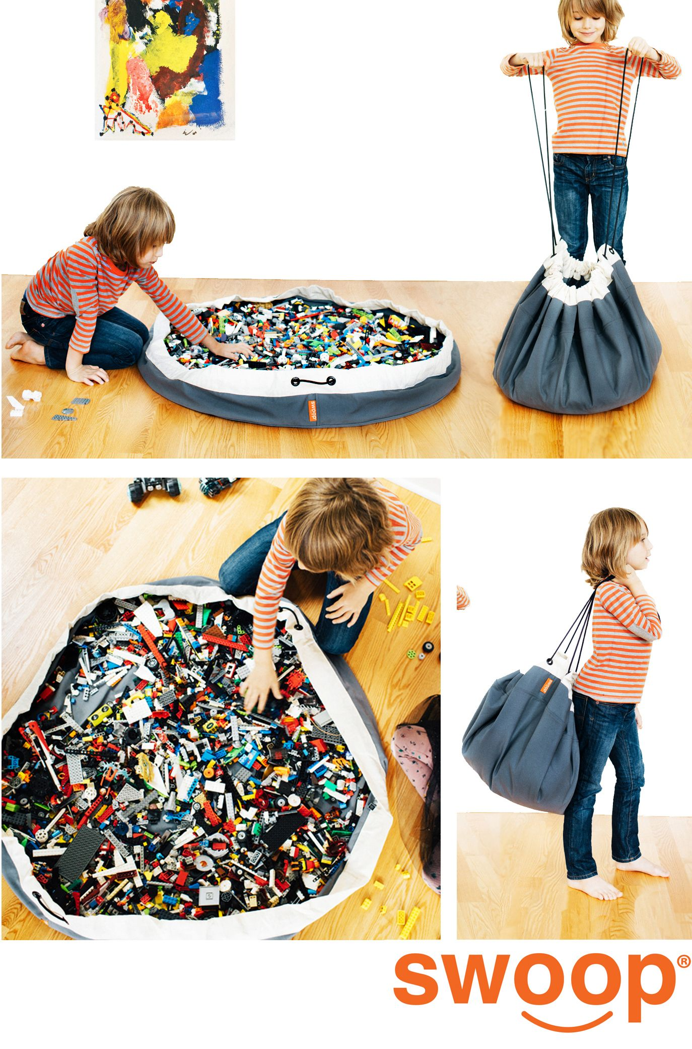 Kids Play Mat Toy/'s Storage Bag Foldable Easy Toy Bag Picnic Round Mat