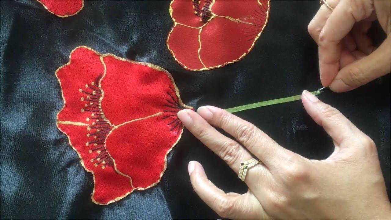Tutorial : sateen applique aplic work design: hand made bed sheet