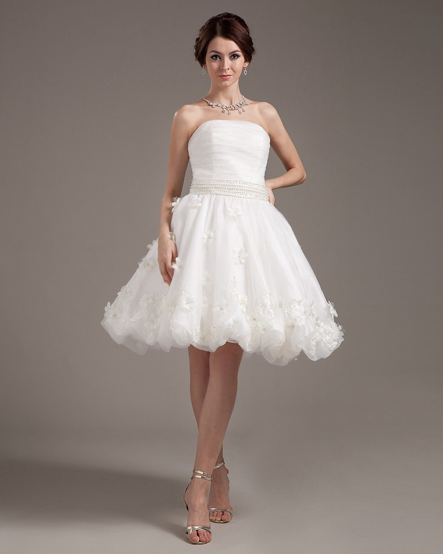 Mini wedding dresses  Applique Ruffles Yarn Sleeveless Strapless Short u Mini Wedding