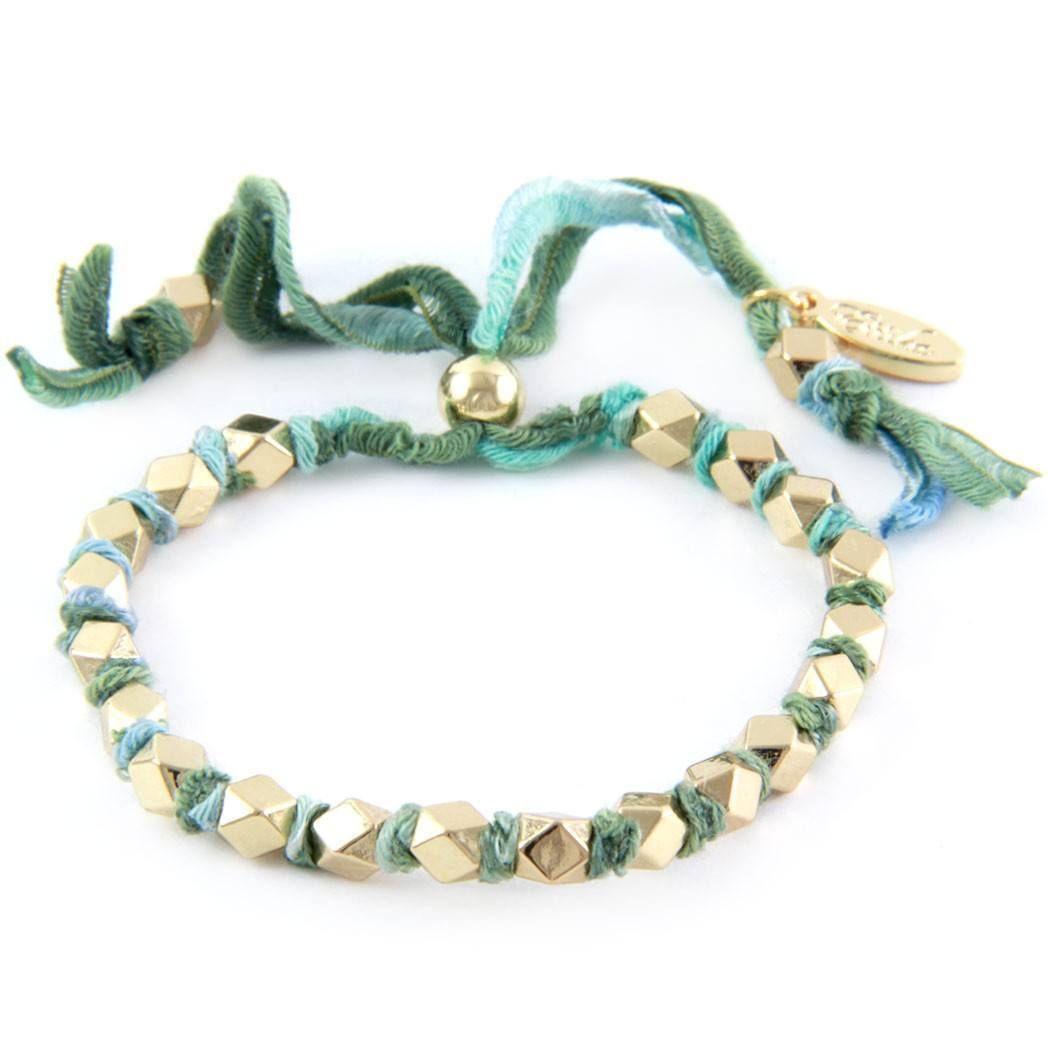 Adjustable Gold Beaded Multi Green Vintage Ribbon Bracelet