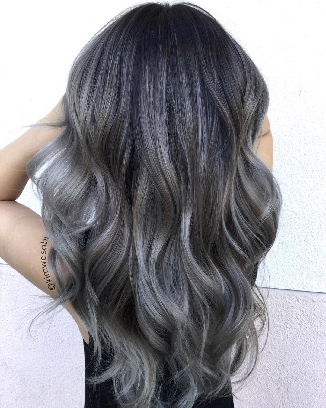 Charcoal Hair The New Low Key Trend On Instagram Grey Hair Dye Balayage Hair Grey Charcoal Hair