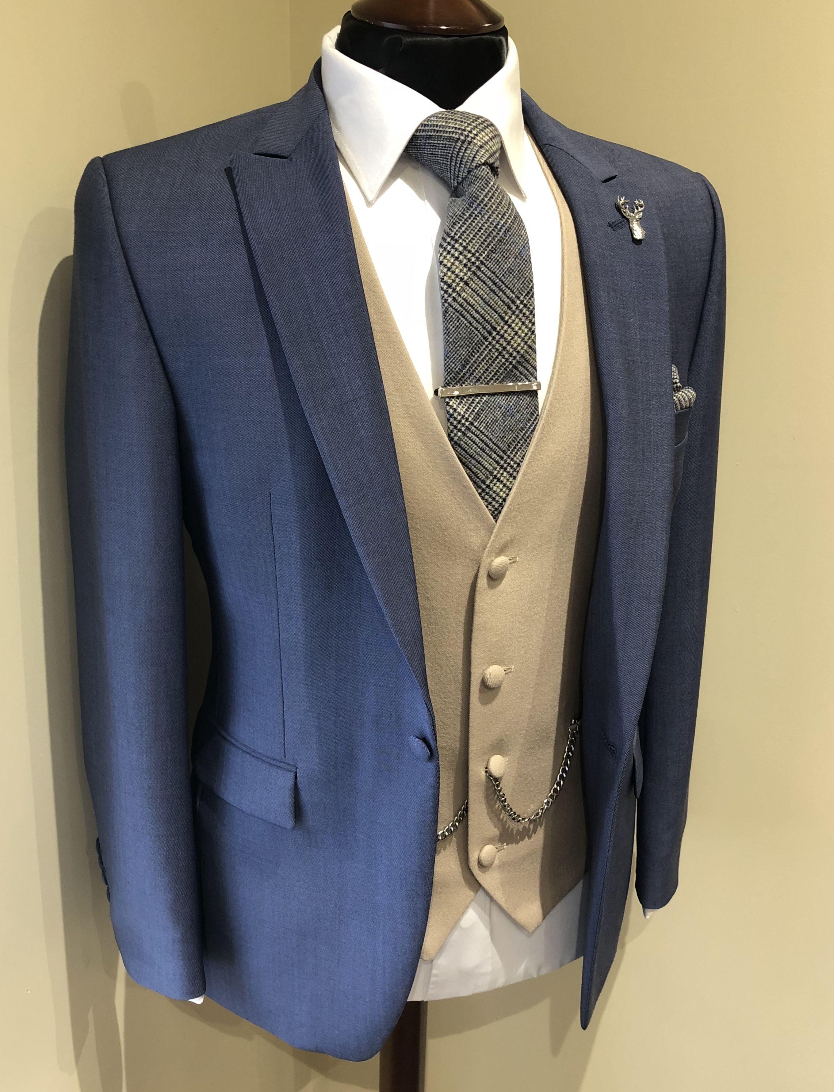 Slim fit airforce blue lounge suit buff/beige waistcoat