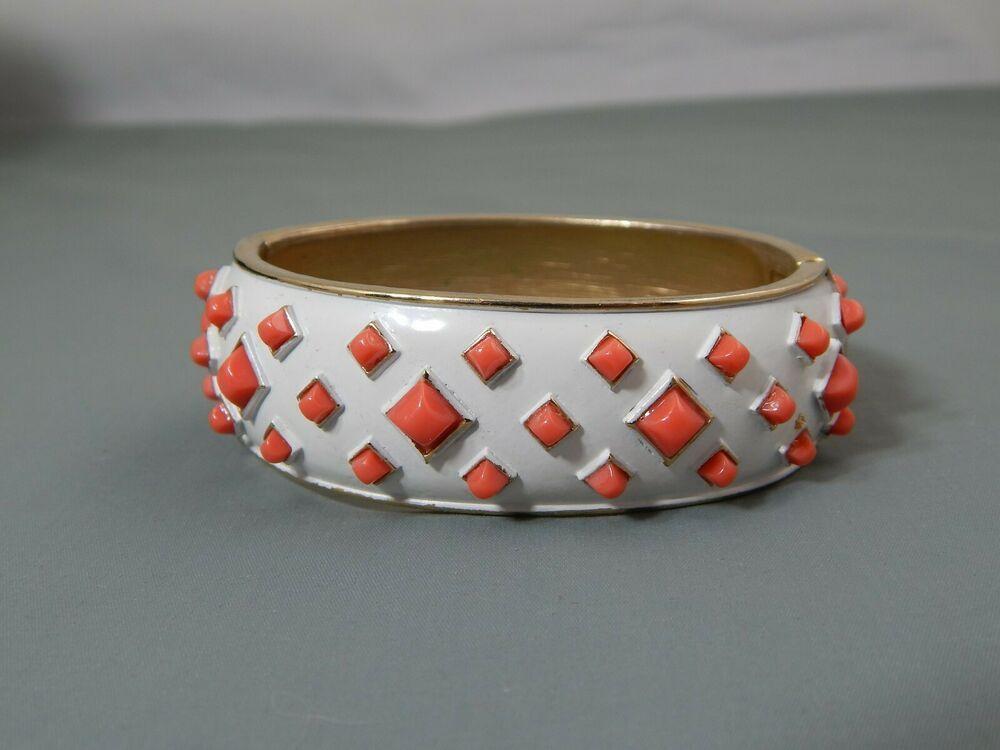 Vintage Trifari White Enamel Bangle Bracelet