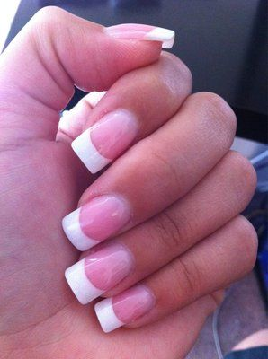 Squared Tips French Manicure French Acrylic Nails Fake Nails French Manicure Nails