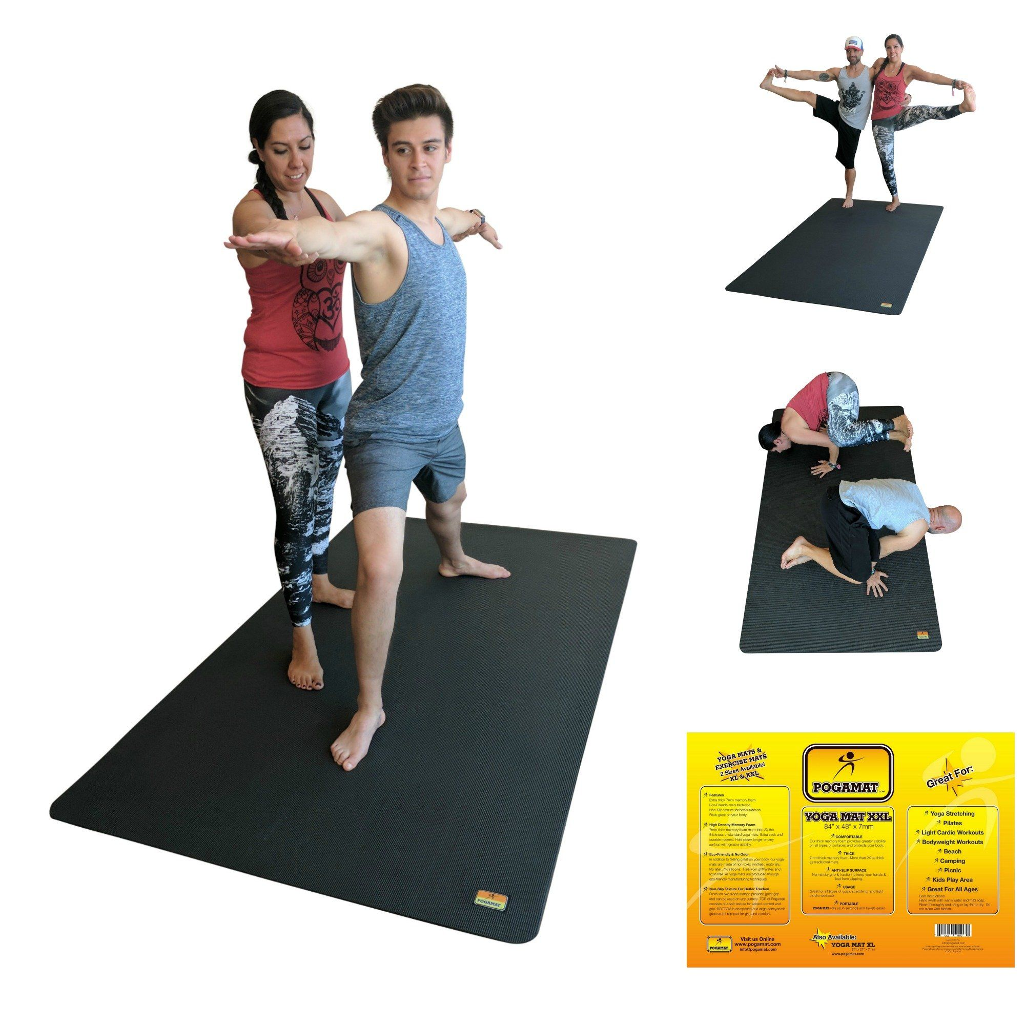 Pogamat Large Yoga Mat And Stretching Mat 7ft X 4ft X 7mm Thick 84x 48 Antitear Non Slip Exercise Yoga Mats Extra Cardio Workout Mat Exercises Thick Yoga Mats
