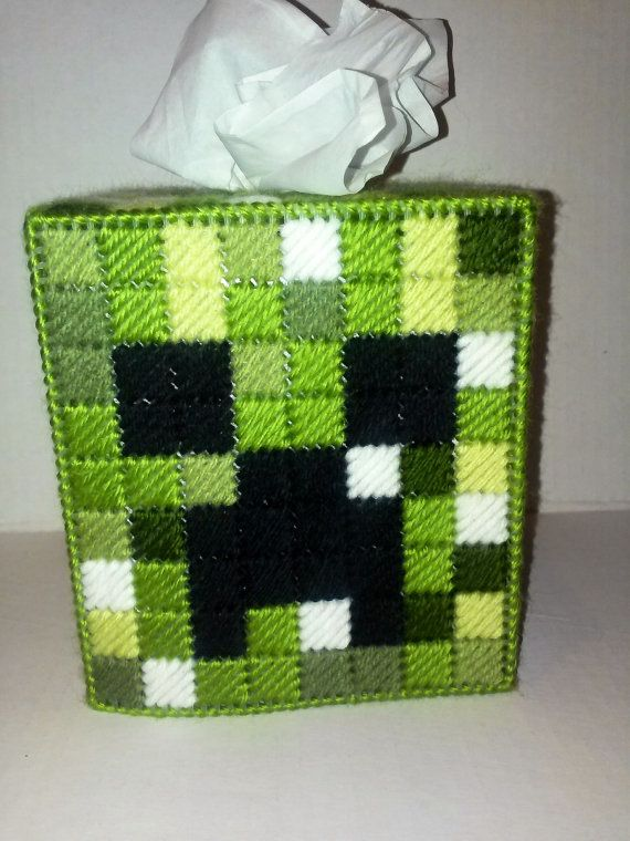 Handmade Finished Minecraft Creeper Tissue Box Cover home decoration video game