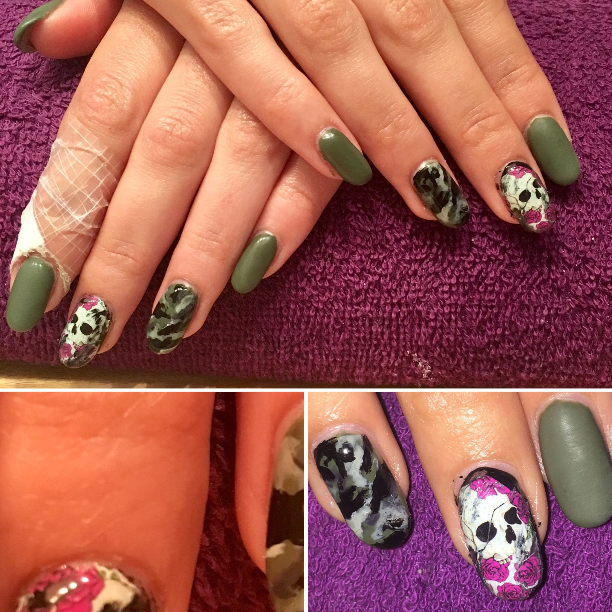 Skull, rose,navygreen,camouflage, | Selfmade acrylic nails ...