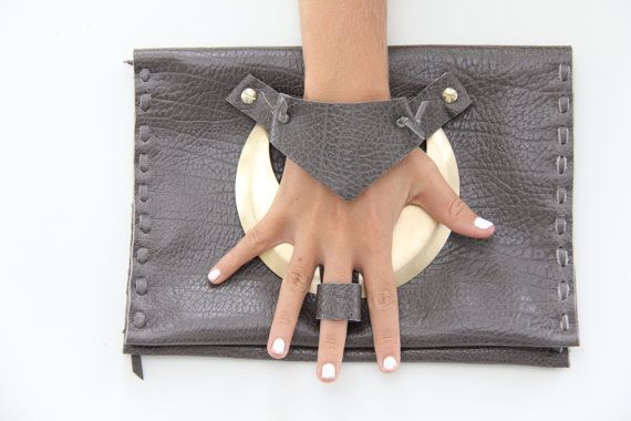 Grey Leather Brass Moon Bag knuckle and Finger clutch by Winisha