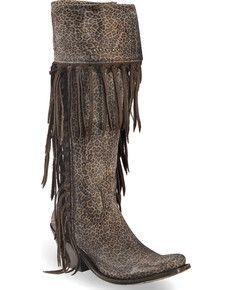 abb72f4b8 Liberty Black Womens Micro Jaguart T-Moro Tall Fringe Boots - Narrow Square  Toe , Dark Brown