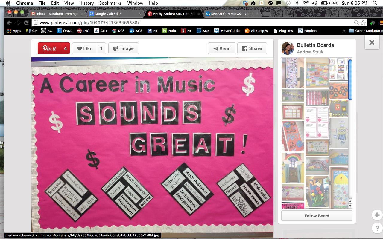 Music Career Bulletin Board Career Bulletin Boards Bulletin Boards History Bookmarks