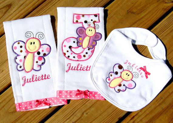 Personalized baby girl burp cloths and bib gift set custom design 3 personalized baby girl burp cloths and bib gift set custom design 3 piece baby gift negle Gallery