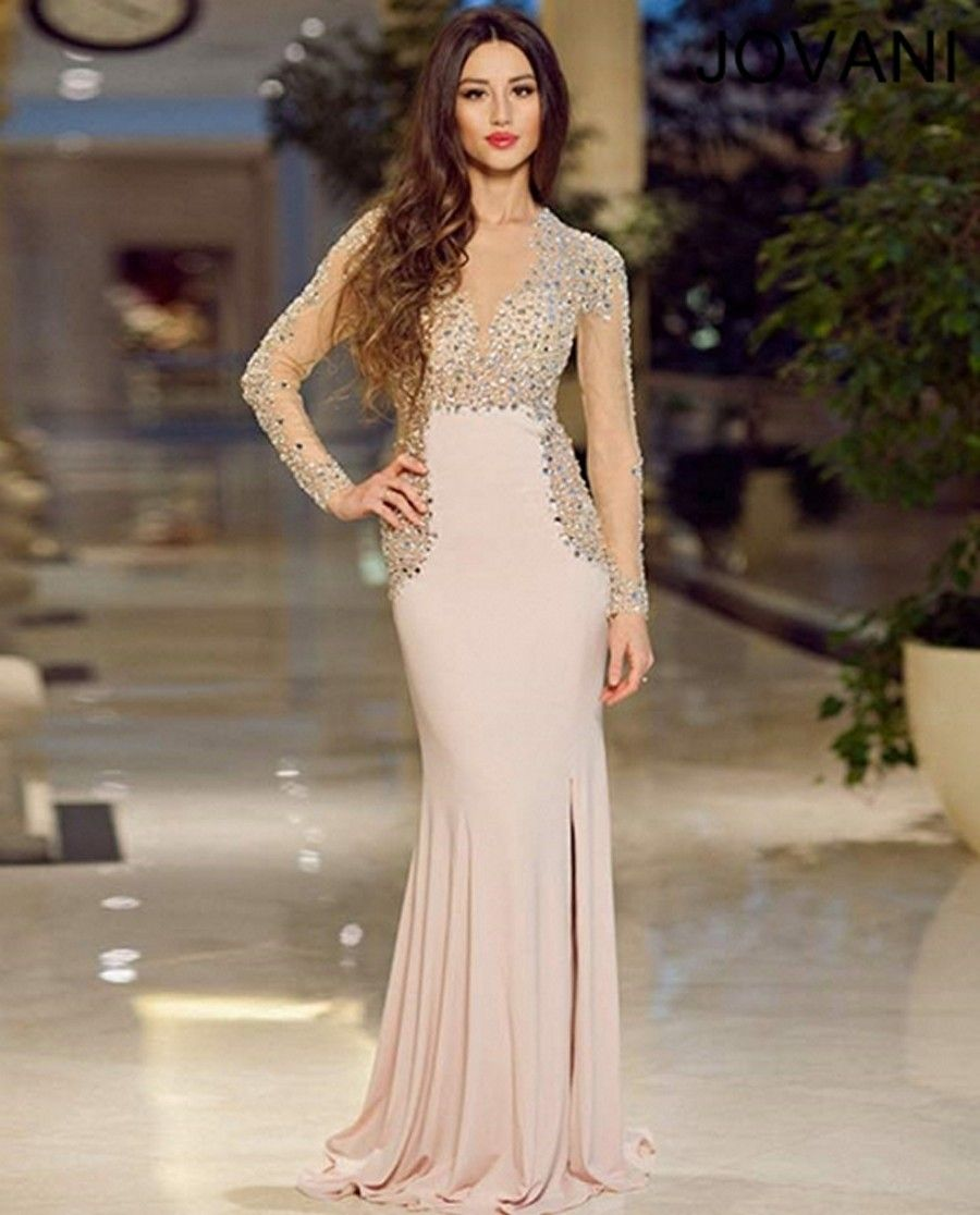 Beaded mesh tops the column silhouette of jovani prom dress