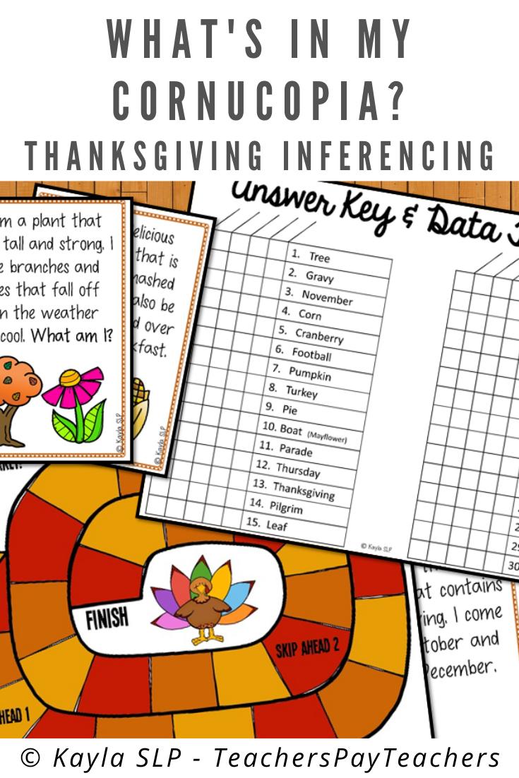 What S In My Cornucopia Thanksgiving Inferencing In 2020 Speech Language Activities Inferencing Inferencing Activities