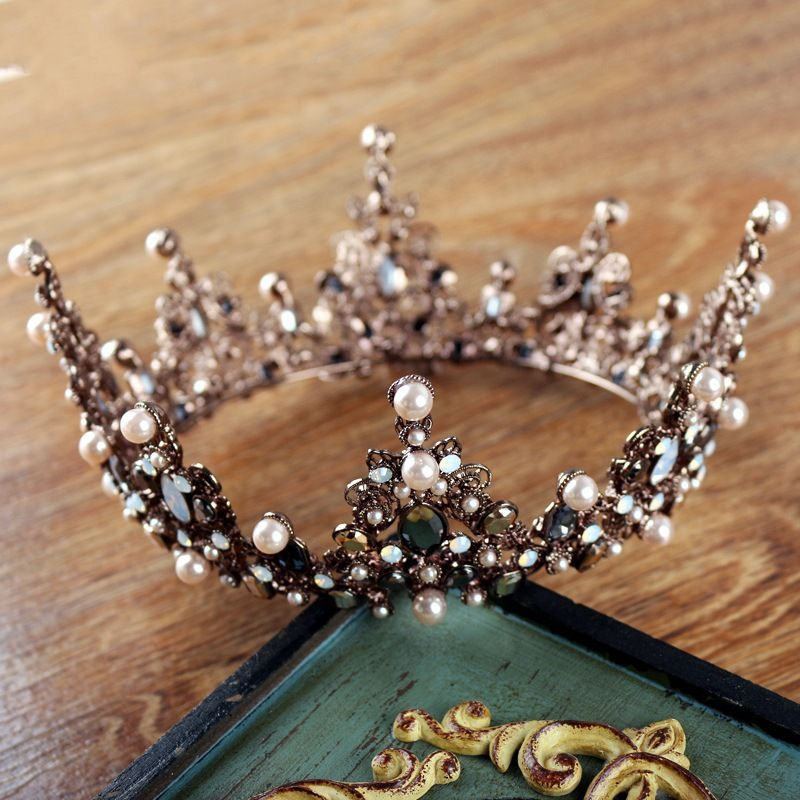 Baroque Crowns Vintage Men Large Gold Crystal Full Round Prom King Crown  Wedding Pageant Queen Tiara Bridal Hair Jewelry Diadem-in Hair Jewelry from  Jewelry ... d96fe5db98ee