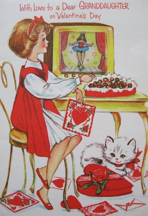 With Love To A Dear Granddaughter On Valentine S Day 1960 S Valentine Card Vintage Valentine Cards Valentines Day Cat Vintage Valentines
