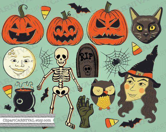 Retro Vintage Halloween Clip Art.Vintage Halloween Clip Art Witch Jackolantern Pumpkins Bats Black