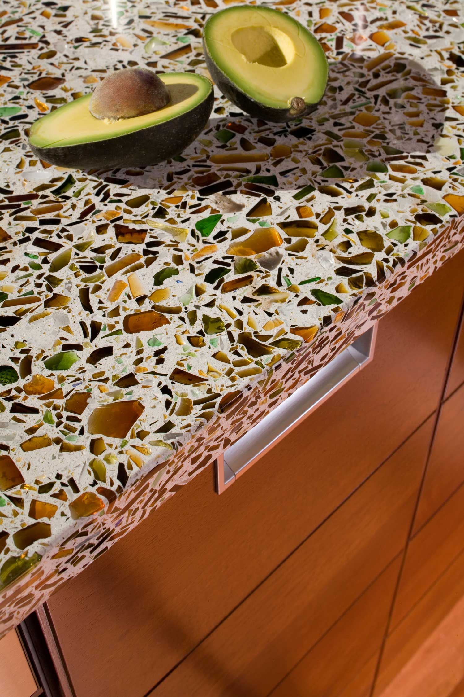 Recycled Glass Kitchen Countertops Wall Cabinets Terrazzo Houston