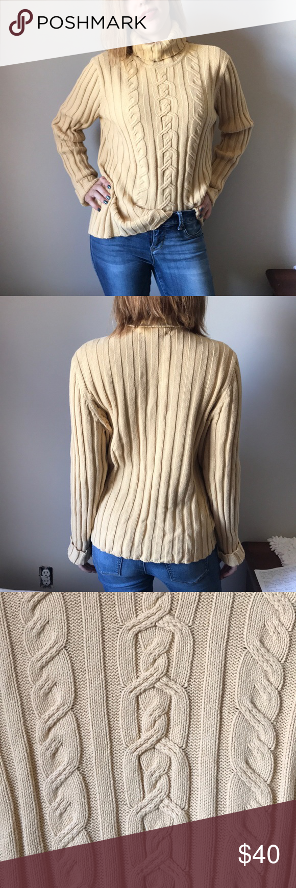 Vintage Cable Knit Turtle Neck Sweater Size XL Sweater