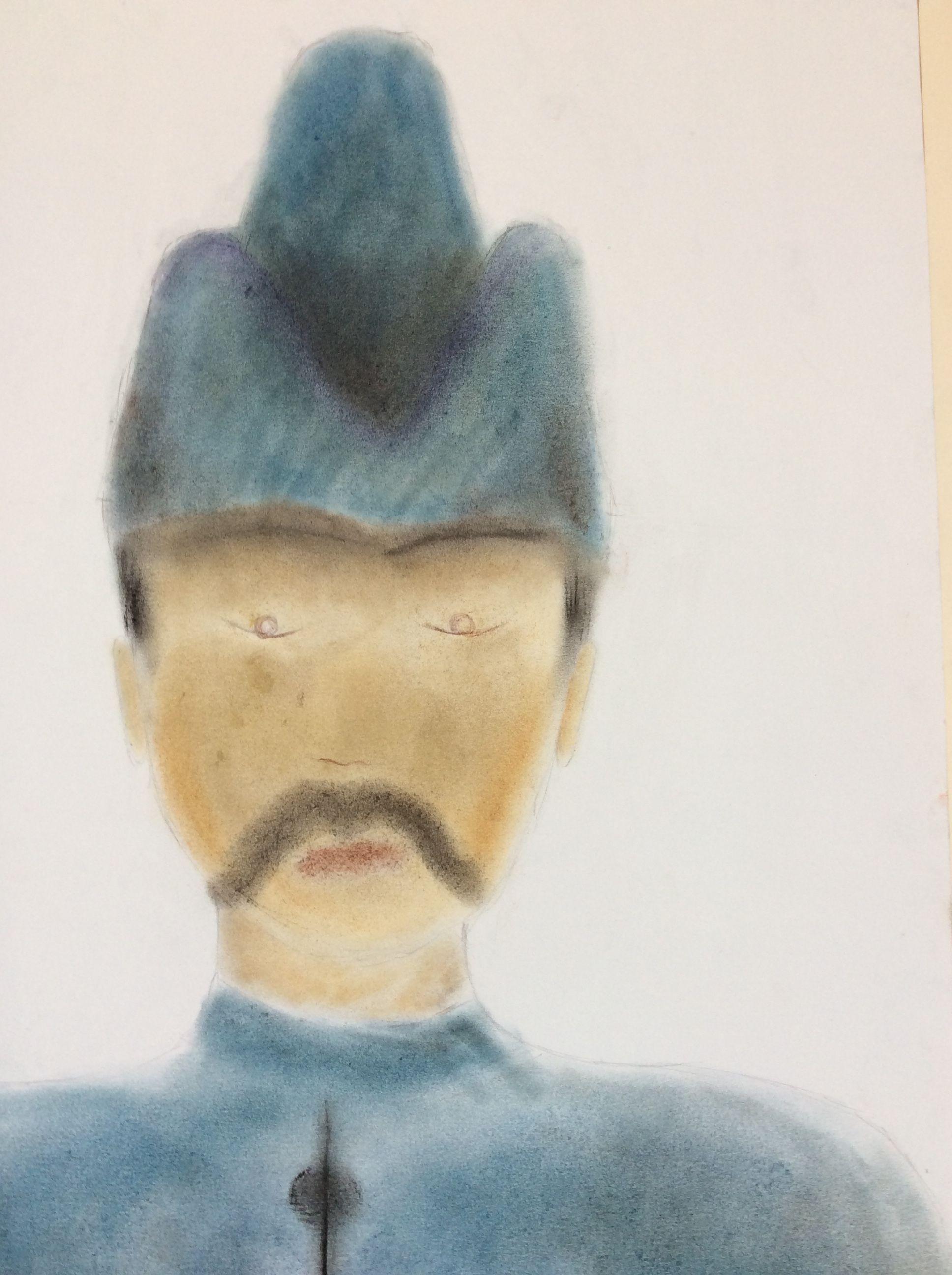 57 portraits de poilus dessinés aux pastels par les élèves de CM2 et présentés aux plus grands.