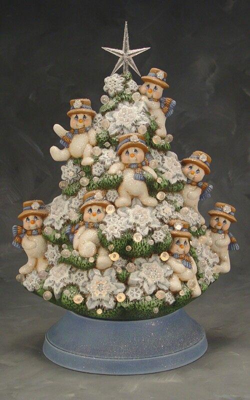 Snowmen Tree Ceramics Cork Christmas Trees Ceramic Christmas