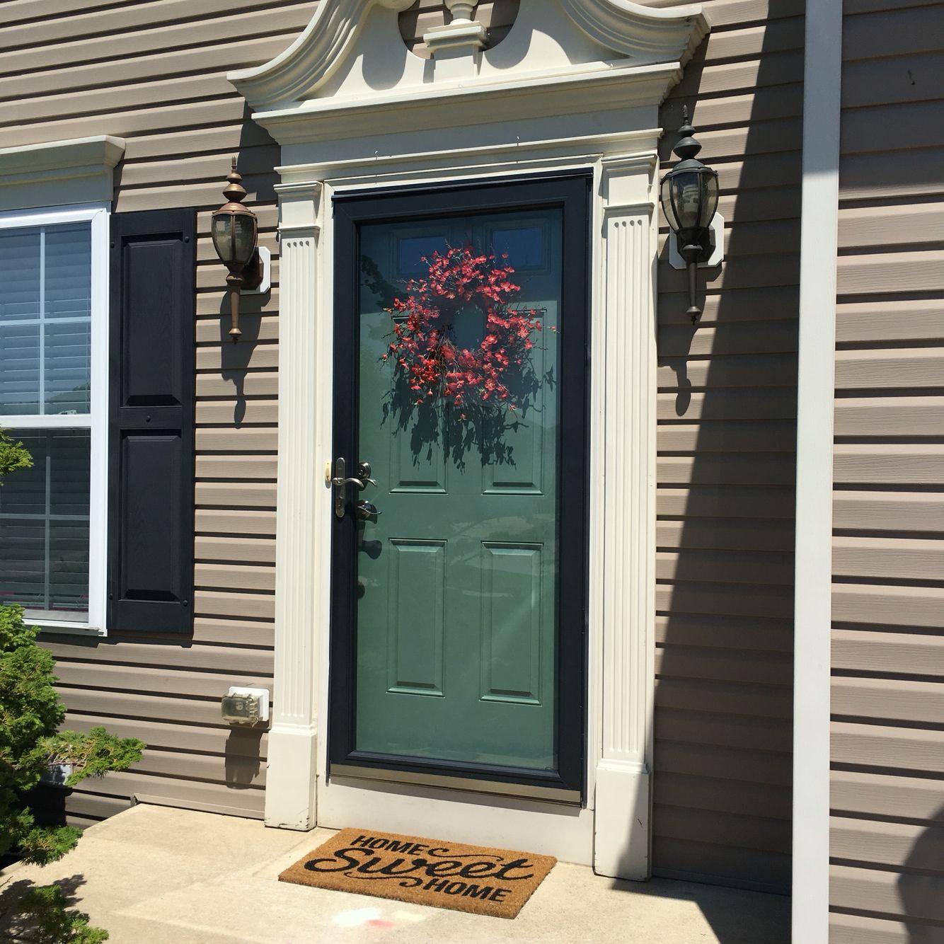 front door makeover - sherwin williams rookwood blue green | doors