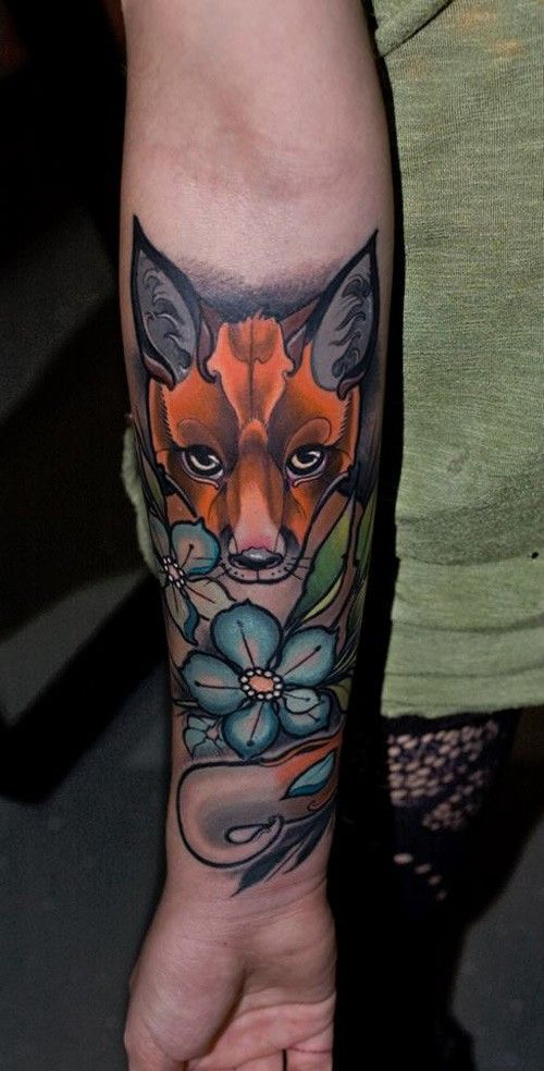 Neo Traditional Style Colored Fox Tattoo On Forearm With Small Flower Tatuajes Geisha