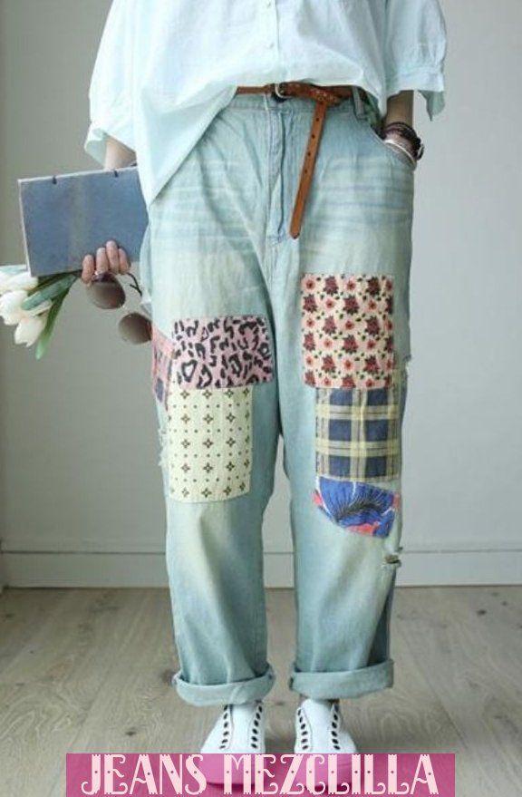 Jeans Patchwork Denim Streetwear