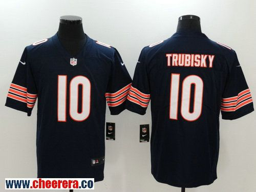 finest selection d0168 59423 Men's Chicago Bears #10 Mitchell Trubisky Navy Blue 2017 ...