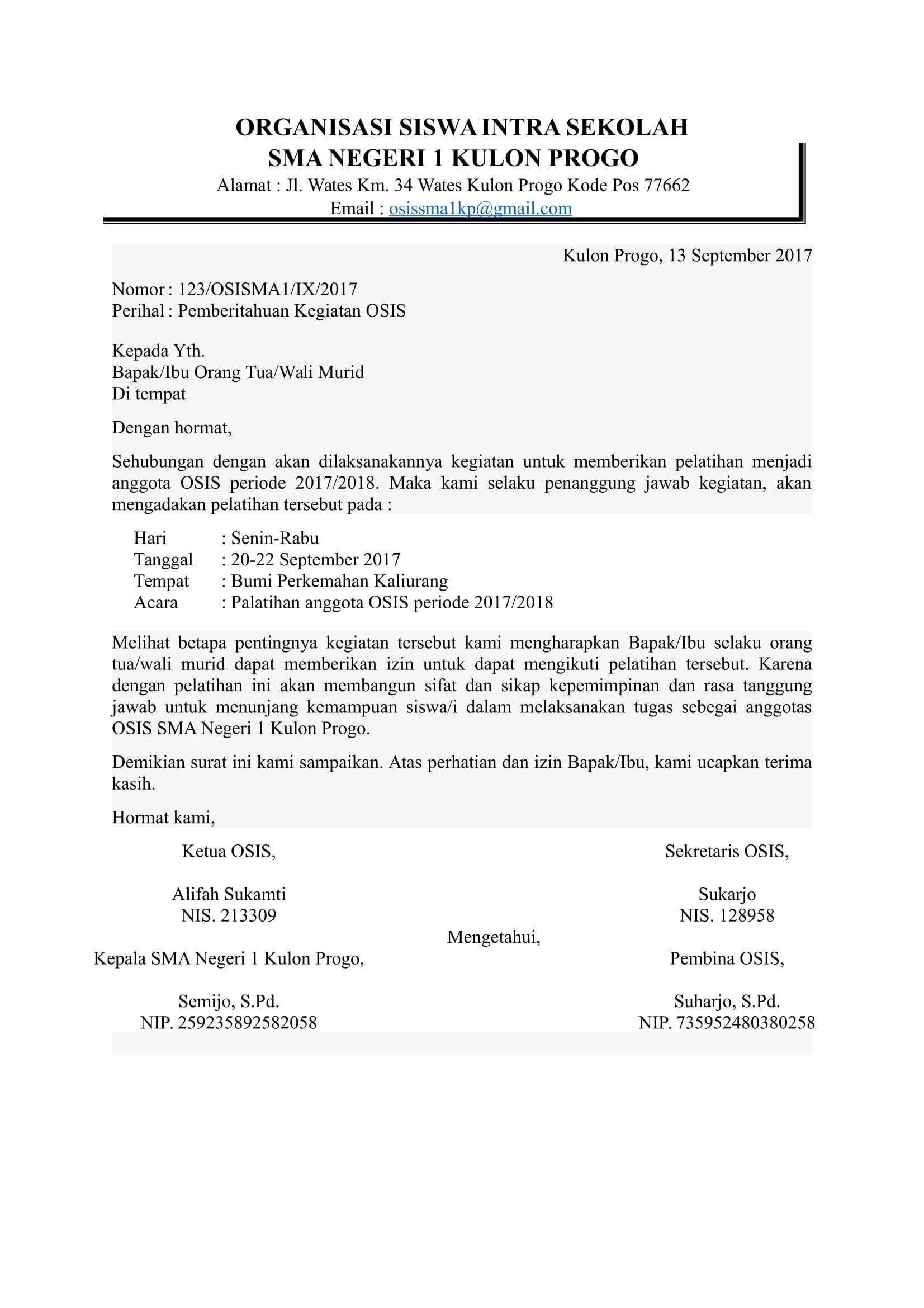 Contoh Surat Dinas Untuk Pembina Osis Surat Ilmu Sosial Sekolah