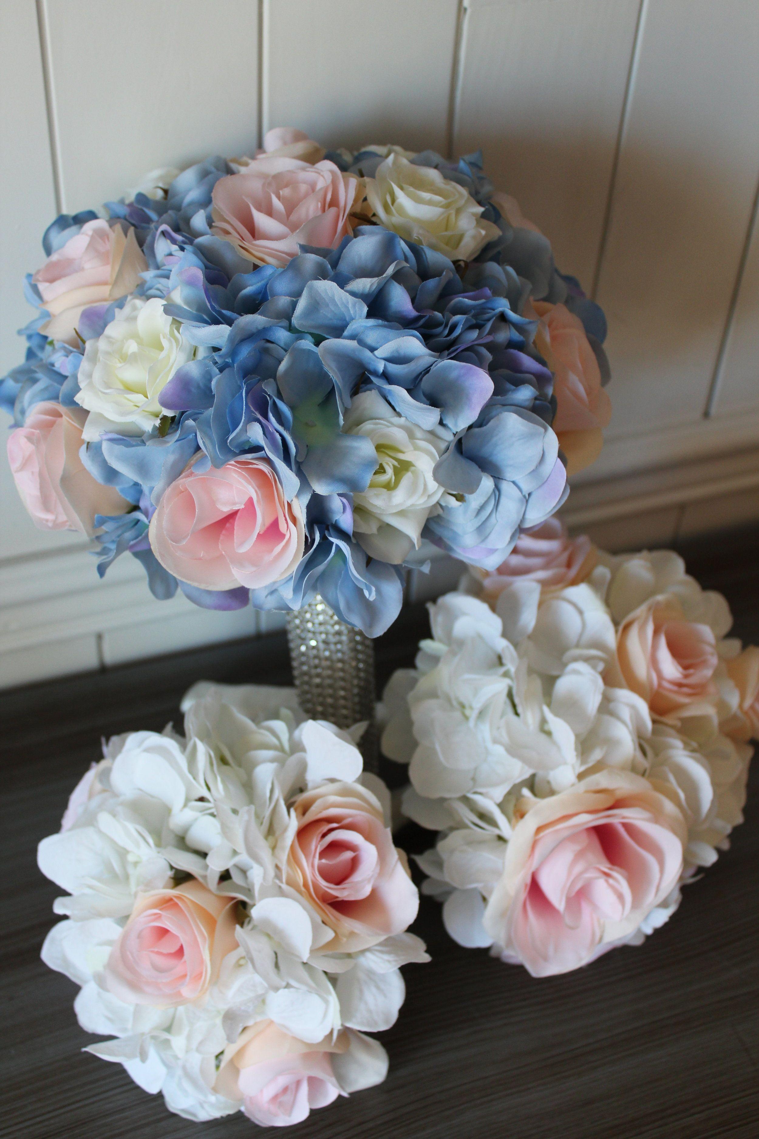 Light Blue, Blush and Ivory Silk Wedding Flowers Wedding
