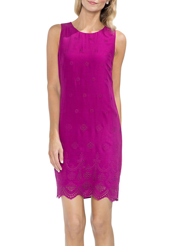 Vince Camuto Sleeveless Scallop Hem Eyelet Shift Dress Shift Dress Dresses Nordstrom Dresses [ 1228 x 864 Pixel ]