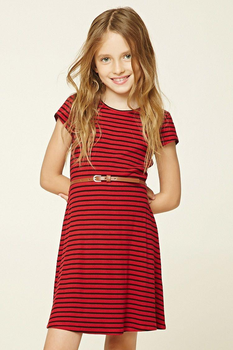 Girls Striped Mini Dress (Kids)   Süße mädchen, Mädchen und Süß