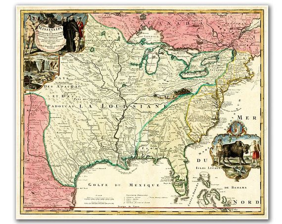 Mississipi River And Regions From 1687 Map Print Map Historical Maps