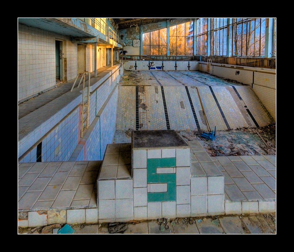 Olympic Size Swimming Pools With Mansions: Empty Pool, Pripyat, Ukraine