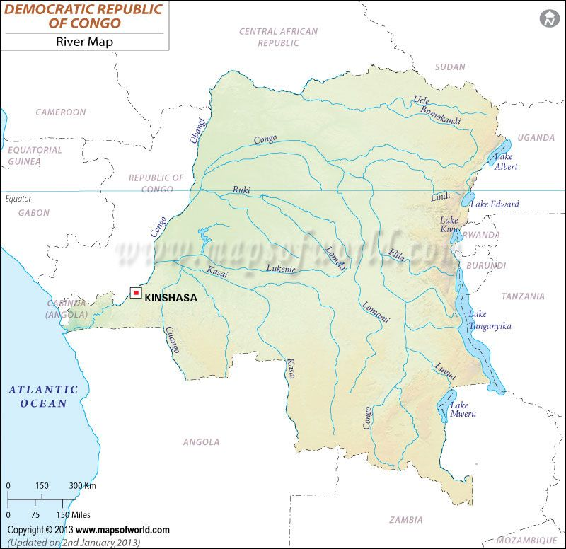 Democratic Republic of Congo River Map (Zaire) | Congo river ...