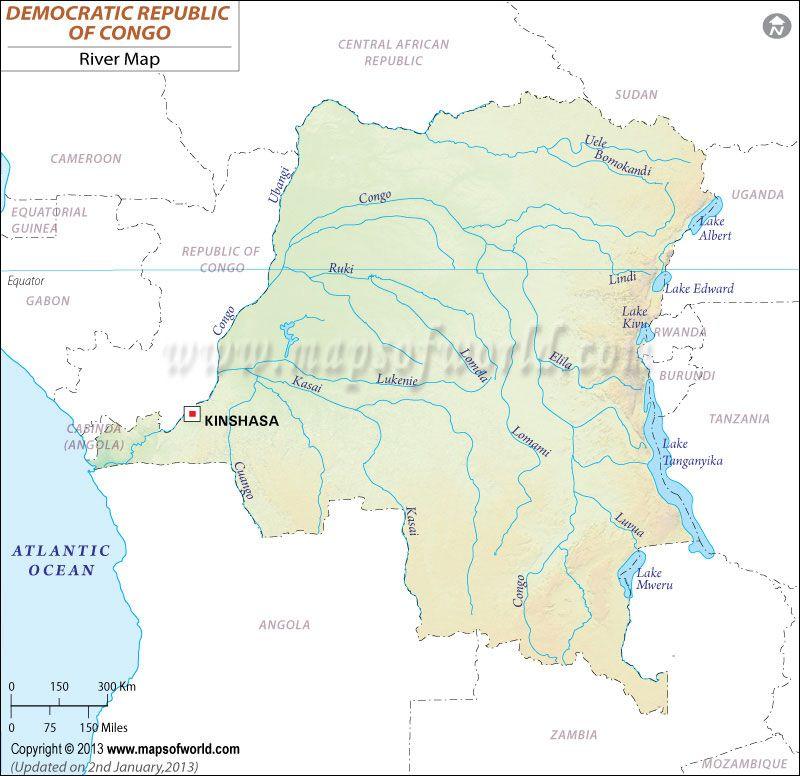 Democratic Republic of Congo River Map (Zaire) | River maps