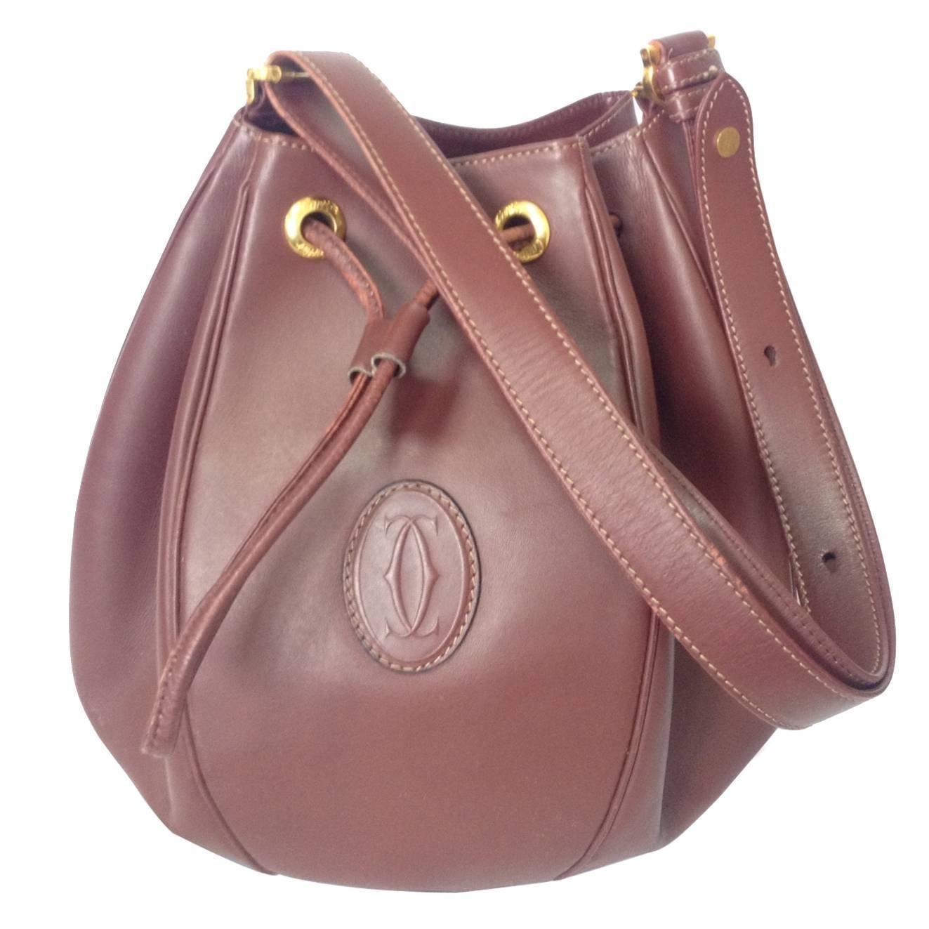 609dd5122d16f5 Vintage Cartier tulip 3 dimension wine leather hobo bucket shoulder bag.  must de