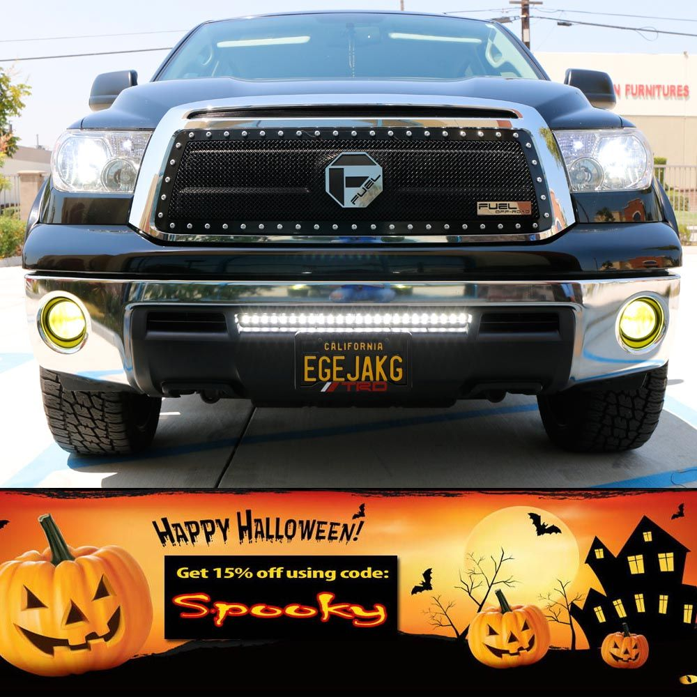 Halloween Weekend Happy Friday Get 15 Off Your Next Purchase When Tundra Tow Package Wiring A Complete Set Of Lower Bumper Grill Mount High Powered Led Light Bar With Mounting Brackets And On Switch Kit For The Toyota