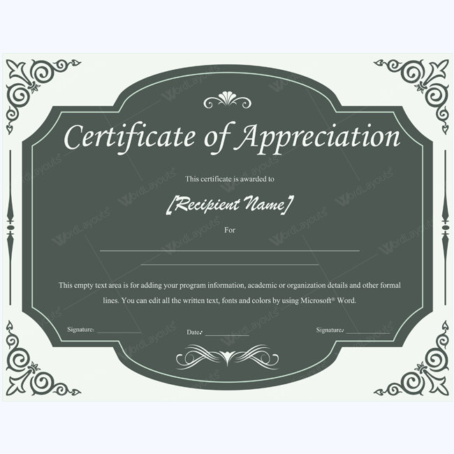 certificate of appreciation 05 templates pinterest certificate