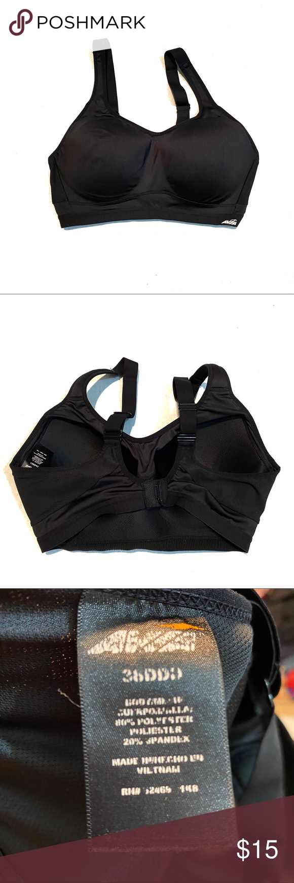 Avia Sports Bra Size 38DDD Black in 2020 Sports bra