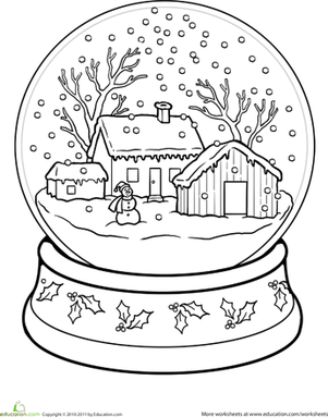 Snow Globe Coloring Page Christmas Christmas Coloring Pages