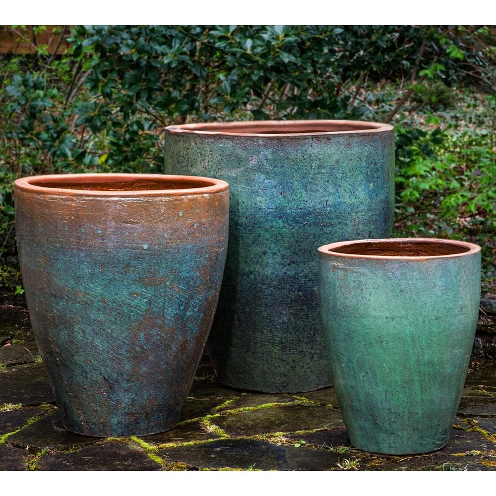 Rustic Green Glazed Terra Cotta Tapered Planters Set Of 3 Planters Planter Pots Outdoor Pots