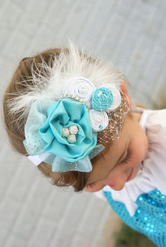 FROZEN Ice Princess Elsa Inspired Over the Top Turquoise/Aqua/Tiffany Blue Shabby Chic Vintage Rolled Fabric Rosette Headband/Photo Prop