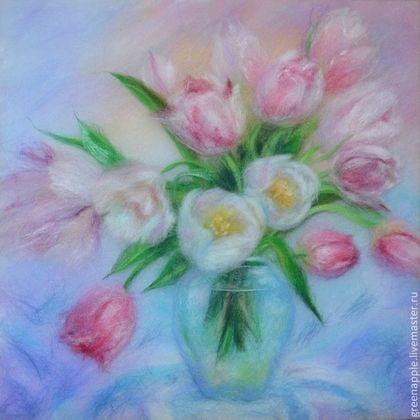 """Картины цветов ручной работы. Ярмарка Мастеров - ручная работа """"Тюльпаны"""". Handmade."""
