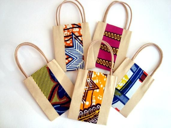 10 Wedding Favour, Party Bag, Small Gift Bag, African Wax