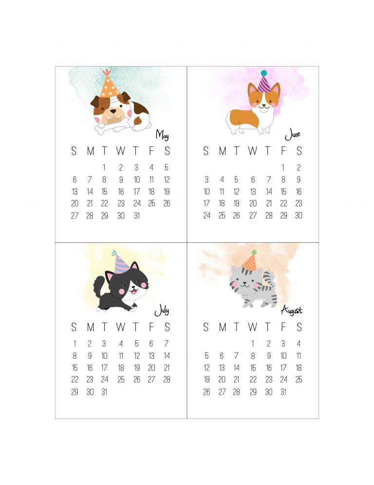 Free Printable 2018 Pet Party Journal Card Calendar The Cottage Market Animal Party Cute Calendar Free Printables