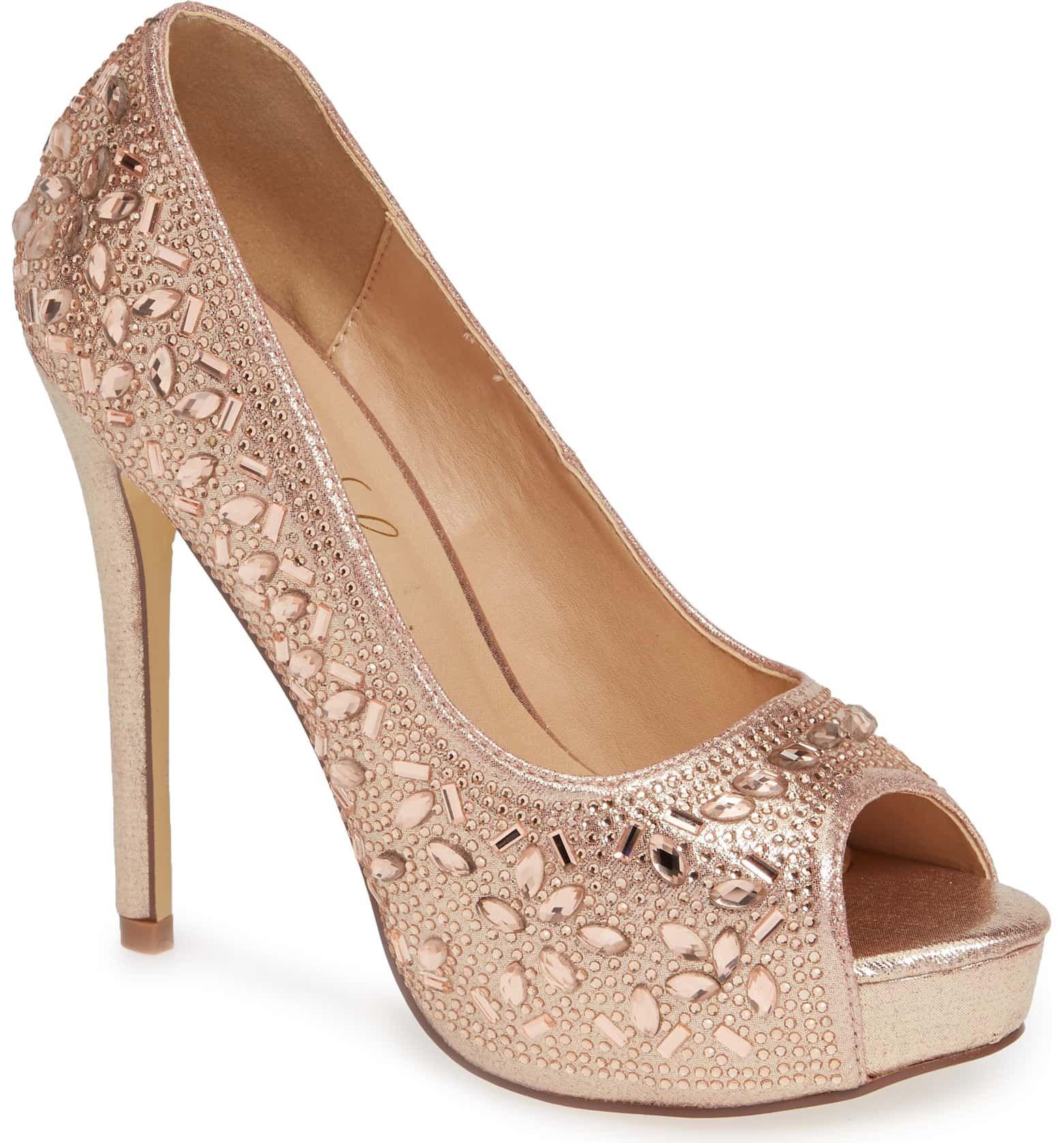 Silver Sparkle 4 Peep Toe Heels by Lauren Lorraine