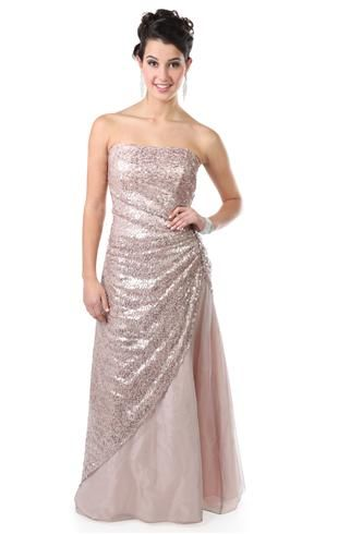 Long Strapless Prom Dress With Glitter Sequins And Foiling Debs