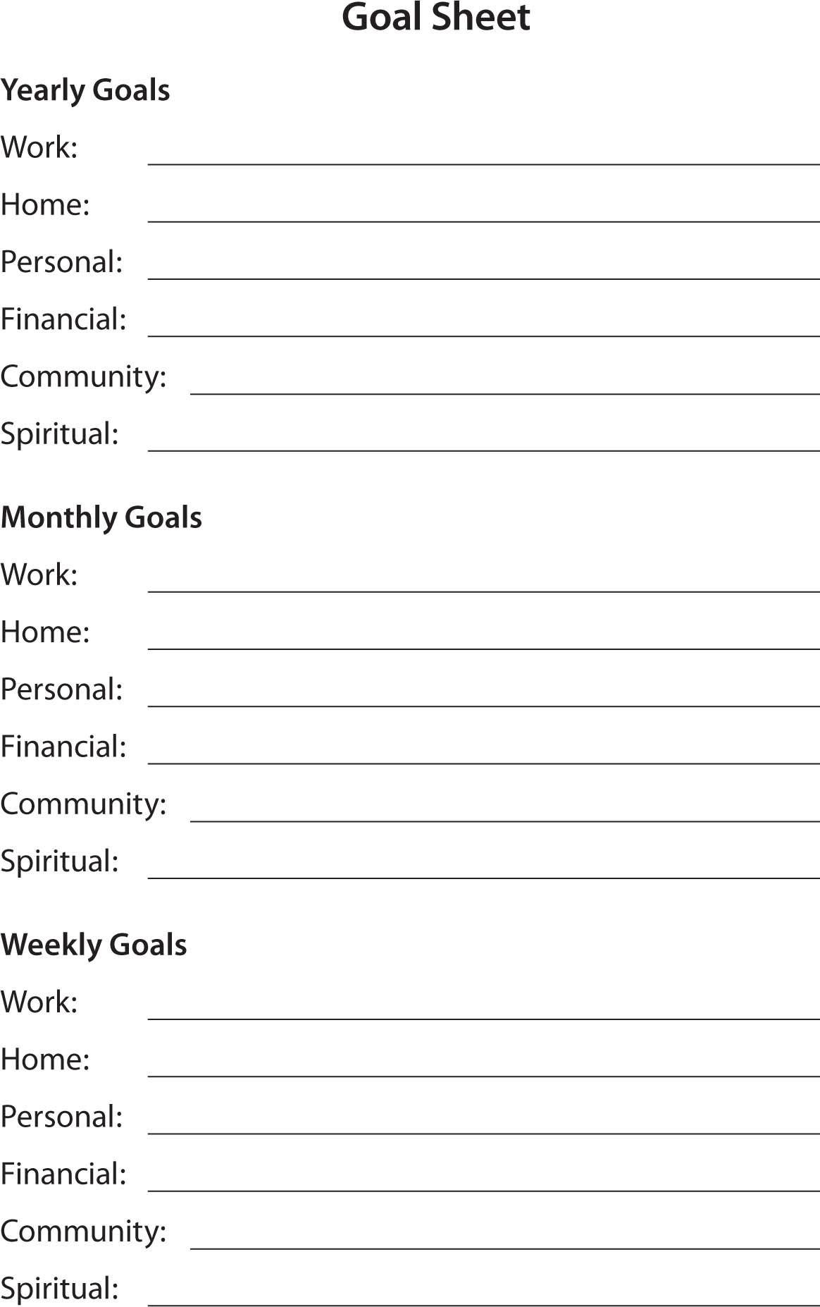 Worksheet My Goals Sheet